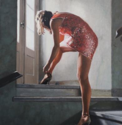 Woman buckling her shoe