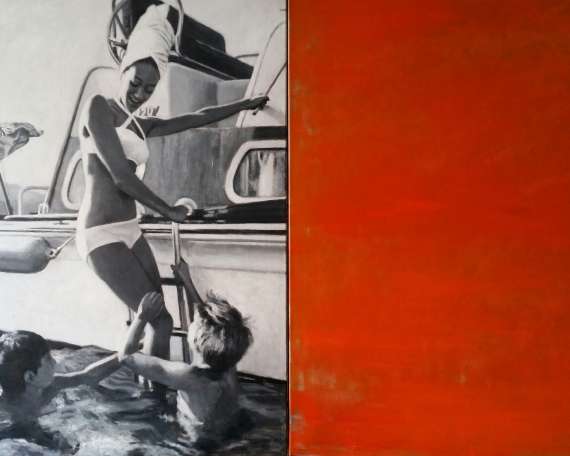 La Vacanza, oil on canvas, diptych
